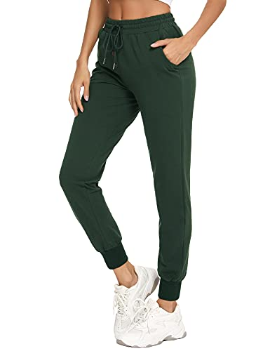 Doaraha Sports Pants for Women, Jogging Pants with Pockets for Women, Elastic Band Fitness Pants, Cotton Sports Pant with Decorative Buttons, Green, M