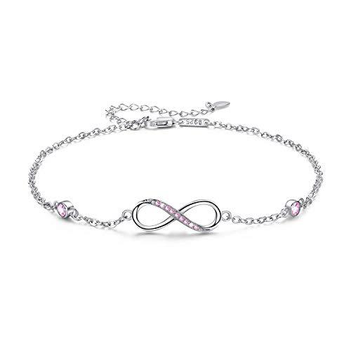 Sterling Silver Infinity Anklet Bracelet Jewelry Gift Endless Love Symbol Anklet Charm Adjustable Ankle Bracelet Chain Gift for Women Girl Her Lover (Pink)