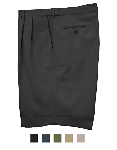 Haggar Big & Tall Men's Pleated Casual Shorts Expandable Waist Black Size 50#898A