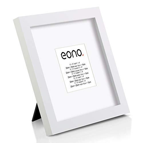 Eono by Amazon - 20x20 cm Bilderrahmen aus Massivholz mit Hochauflösendem Glas für Bildformate 10x10 cm mit Passepartout oder 20x20 cm ohne Passepartout zum Aufstellen
