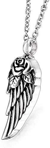 BACKZY MXJP Collar Mini Urna para Mascotas De Acero Inoxidable con Alas De Ángel Colgante para Urna De Cremación para Cenizas Botella De Perfume Hombres Mujeres Collar