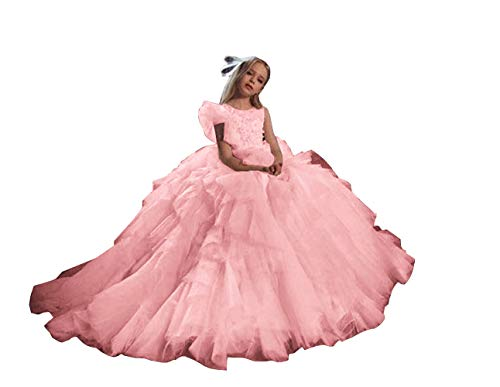 Emmani Girl's Lace Appliques Flower Girls Dresses Tulle Tiered Ball Gown Little Girls Pageant Dress Pink