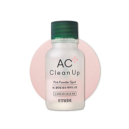 ETUDE HOUSE AC Clean Up Pink Powder Spot (Renewal) 0.51 fl. oz. 15 ml | Salicylic Acid Acne Spot | Pore Block and Blackheads Treatment for Troubled Irritated Skin | Calamine Calming Water Type Formula