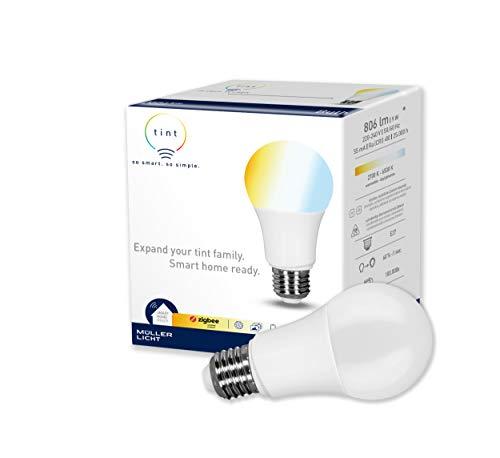tint Müller-Licht Smarte LED Lampe E27, Birnenform, Kunststoff, 9 W, Weißtöne 2700-6500K, 1er Pack