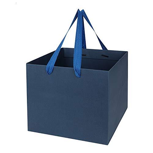 IBLUELOVER - 10 bolsas de regalo de papel kraft cuadradas con asas, bolsa de regalo para flores, pasteles, fiestas, bodas, cumpleaños, Navidad, acción de gracias, 21,5 x 21,5 x 18 cm
