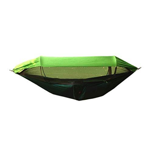 HUANXI Multifonction Double Hamac Camping avec Sac De Rangement + Sangle,300kg Capacité de Charge (290x145cm) Vert Foncé Matelas De Camping pour Camping Travel Yard