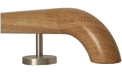 Corrimano in legno di quercia con impugnatura dritta in acciaio inox, lunghezza 30 – 500 cm in un unico pezzo/ad esempio lunghezza 90 cm con 2 supporti dritti – estremità = curvatura in legno