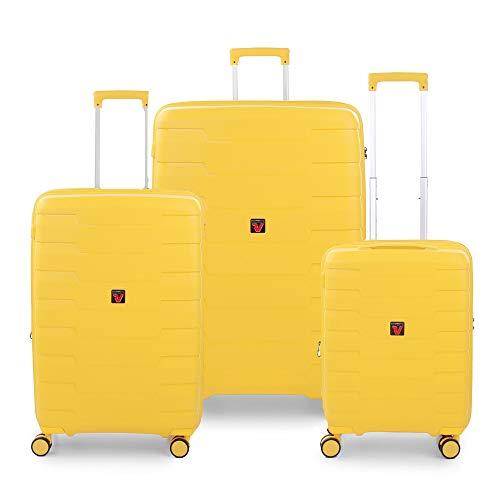 RONCATO Skyline - Juego de 3 maletas rígidas ampliables (L, medio + cabina), color limón