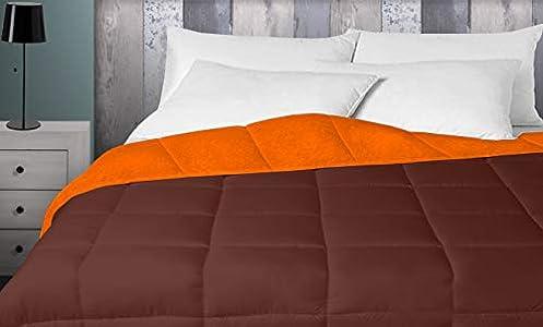 Energy Colors Textil - Hogar - Oshawa - Relleno Nórdico 400 gr Reversible Liso Tacto Pluma Otoño/Invierno (Naranja - Marrón, 150_x_220_cm) Cama 90