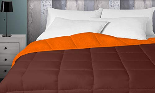 Energy Colors Textil - Hogar - Oshawa - Relleno Nórdico 400 gr Reversible Liso Tacto Pluma Otoño/Invierno (Naranja - Marrón, 240_x_220_cm) Cama 150