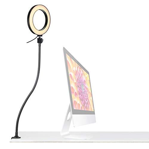 Ringlicht mit Halterung, 16 cm Ringlicht mit 64 cm Schwanenhals Halter zum Lesen, Basteln, Make-up, YouTube, Live-Streaming, Studium, Architekten, Zeichnen, Werkbank, Schreibtisch