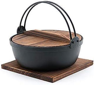"""Fuji Merchandise Japanese Style Cast Iron Sukiyaki Tetsu Nabe Pot with Wooden Lid and Tray Quality Enamel Coating (90 fl. oz) 9.75"""" Diameter"""