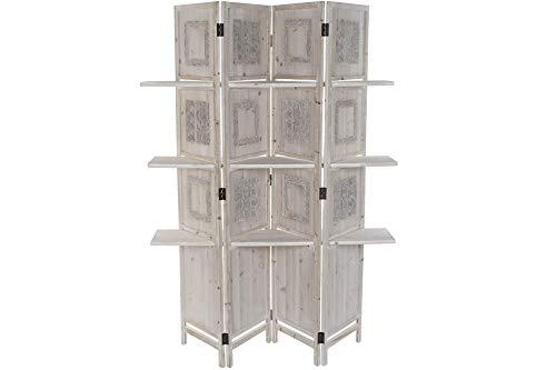 DRW Estantería biombo con 3 estantes de Madera en Blanco y Natural 121,5x32x180cm