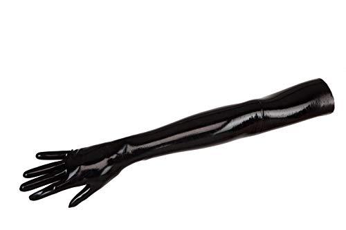 EXLATEX Women's Latex Black Long Gloves Outfits (Large, Black)