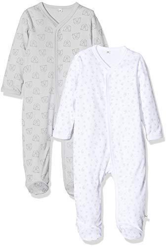 Pippi Unisex Baby 2er Pack Schlafanzug mit Aufdruck, Langarm mit Füßen Schlafstrampler, Beige (Harbor Mist 190), (Herstellergröße:50)