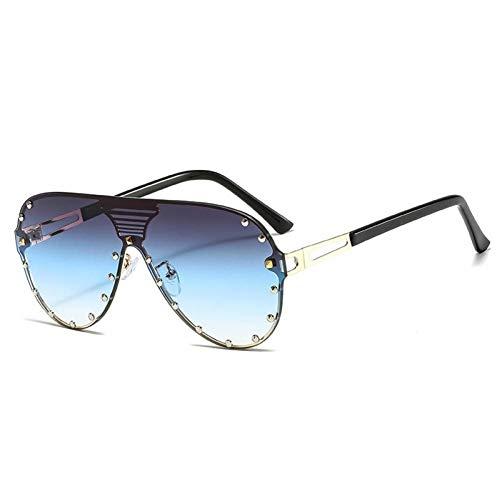 ZZOW Gafas De Sol De Piloto De Una Pieza De Gran Tamaño A La Moda para Mujer, Gafas De Sol con Remaches Vintage De Lujo, Gafas De Sol Gradiente para Hombre, Gafas Grandes Uv400