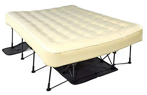 Ivation EZ-Bed (Queen) Air Mattress with Frame & Rolling Case, Self Inflatable, Blow Up Bed Auto Shut-Off, Comfortable Surface AirBed, Best for Guest, Travel, Vacation, Camping (Renewed)