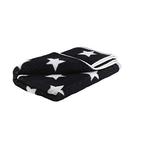axentia Handtuch mit Sternen aus 100 % Baumwolle, kleines Duschtuch, hautsympathisch und saugfähig, Wellness Handtuch, 50 x 100 cm, schwarz/weiß