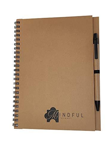 A5 Kraft Draad Notitieboekje met Kaart Verborgen Zwart-Inkt Balpen, Gerecycleerde Kaartbescherming, Gereguleerde Pagina's