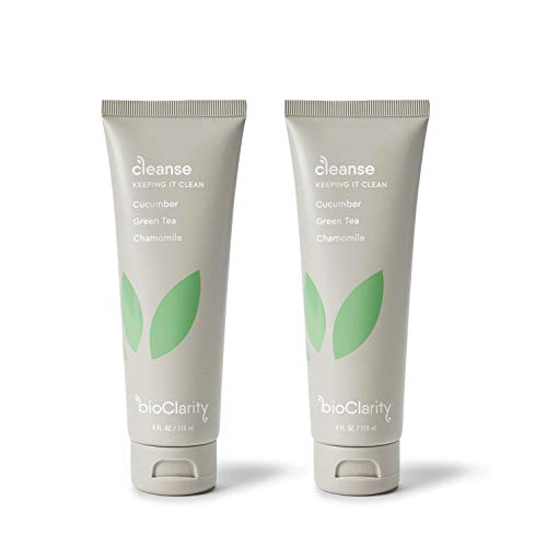 bioClarity Face Cleanser Set | 100% Vegan, Cucumber & Green Tea Gentle Face Wash (Set of Two 4oz Cleansers)