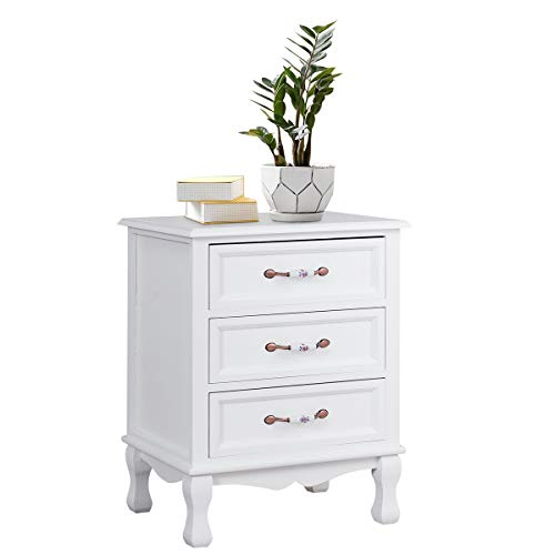 Giantex 3 Drawers Nightstand Storage Wood Cabinet Bedroom Side Storage End Table(1, White)