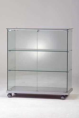 MHN Vitrina expositora ancha de cristal de seguridad iluminado de pie, 2 puertas, 80 cm de ancho y 90 cm de alto