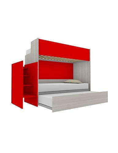 Woody - Litera funcional de diseño, con tercera cama extraíble y elevable, 80 x 190 cm, escalera de contención incluida, color blanco efecto madera y rojo