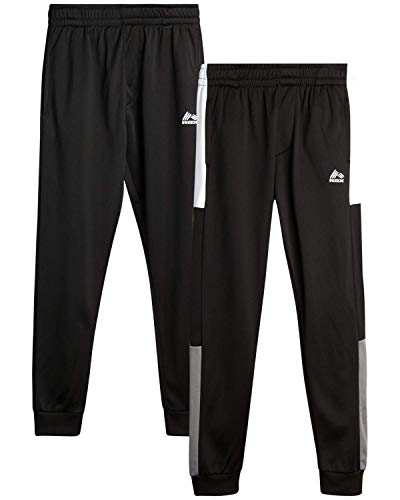 RBX Boys' Sweatpants - Active Tricot Joggers Warm-Up Track Pants (2 Pack), Size 14/16, Black/Black