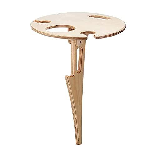 Mesa de picnic portátil, mesa de vino al aire libre, plegable, de madera, portátil, con soporte para botellas, fácil instalación, color caqui