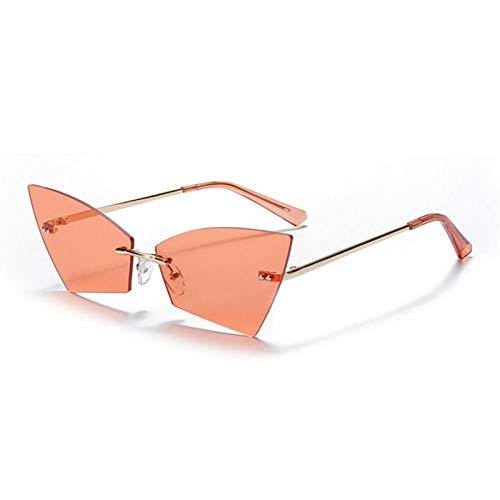 ZZOW Gafas De Sol Coloridas De Ojo De Gato Único Sin Montura A La Moda para Mujer, Gafas De Sol Clásicas con Lentes De Océano Transparentes, Gafas De Sol Uv400 para Hombre