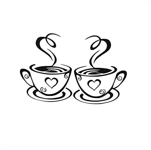 Dos tazas de café creativa restaurante, cocina, decoración del hogar pegatinas