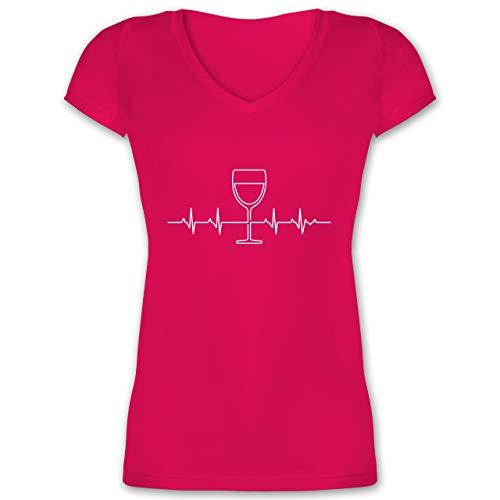 Symbole - Herzschlag Wein - L - Fuchsia - t-Shirt mit weinglas - XO1525 - Damen T-Shirt mit V-Ausschnitt