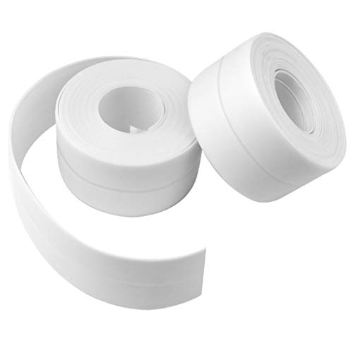 2 Pack Caulk Strip Waterproof Mildew Tape Flexible Self Adhesive Caulking Sealing Repair Tape for Kitchen Countertop Sink Gas Stove Bathroom Bathtub Toilet Tub Shower Floor Wall Corner Edge Protector