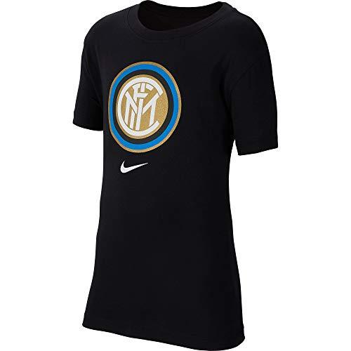 Nike Inter B NK Tee Evergreen Crest T-Shirt Garçon, Black, FR : S (Taille Fabricant : S)