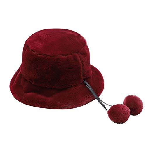 Yowablo Frauen-Winter-Eimer-Hut-Nette und warme Kappen, die Fischen-Hut jagen (4Rot)