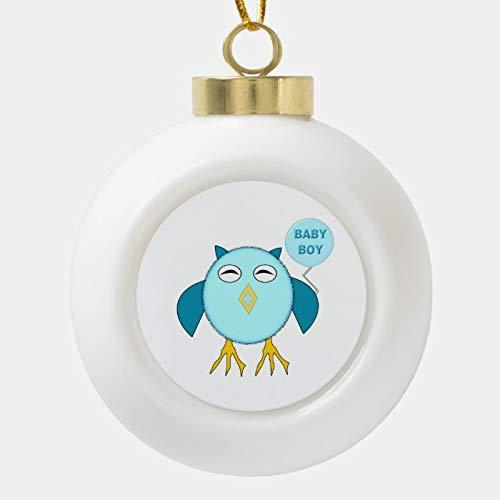 Dom576son Christmas Ball Ornaments, Cute Blue Baby Boy Owl Ornament, Shatterproof Christmas Decorations Tree Balls for Holiday Wedding Party Decoration