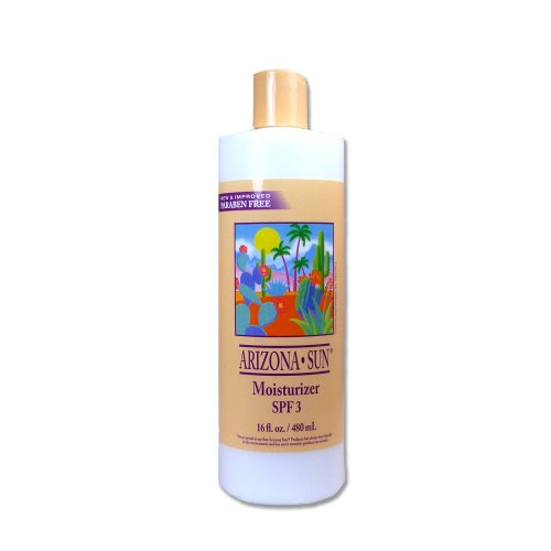 Arizona Sun Moisturizer SPF 3 – 16 oz –Natural Aloe Vera and Other Plants and Cacti from The Desert Provide Soothing Moisture for Dry Skin – Oil Free – Face and Body Lotion