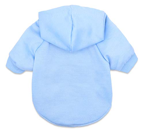 Small Dog Sweatshirts Frenchie Bulldog Hoodies Clothes Pet Outfits, Blue, Large