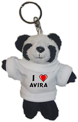 SHOPZEUS Plüsch Pandabär Schlüsselhalter mit T-Shirt mit Aufschrift Ich Liebe Avira (Vorname/Zuname/Spitzname)