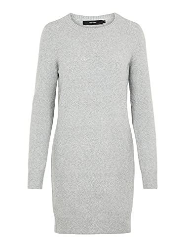 VERO MODA Damen VMDOFFY LS O-Neck Dress GA NOOS Kleid, Grau (Light Grey Melange Light Grey Melange), XL