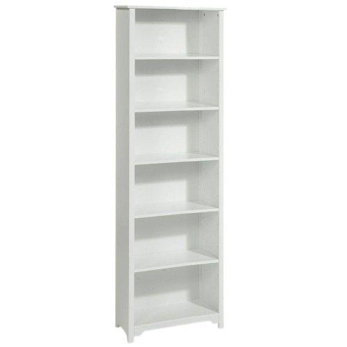 Sale Oxford 24 Inch White Six Shelf Open Bookcase, SIX-SHELF/24W