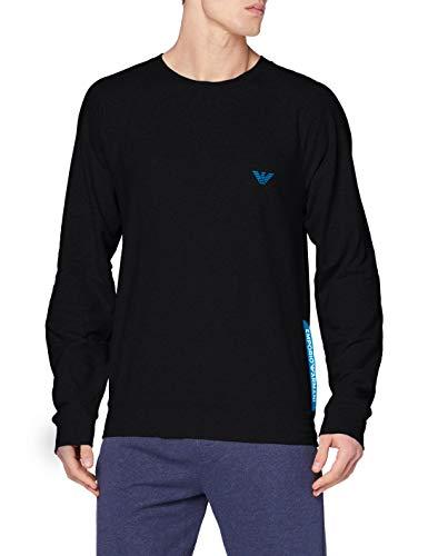 Emporio Armani Underwear Sweater Stretch Terry Maglia di Tuta, Nero, L Uomo