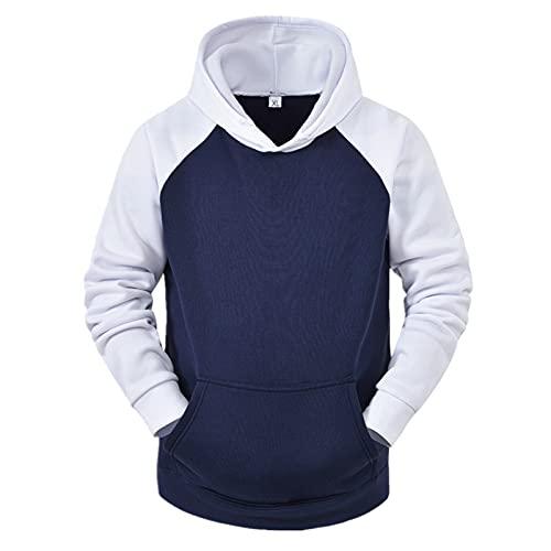 Dasongff - Sudadera con capucha para hombre, diseño de patchwork con contraste de color, de manga larga, básica, con capucha, manga larga, corte ajustado, sudadera deportiva
