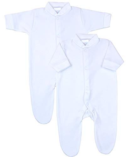 Babyprem Bebé Prematuro Conjunto 2 Pijama Mameluco Ropa de Algodón Niñas Niños Unisexo 38-44cm Blanco