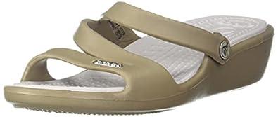 Crocs Women's Patricia Khaki and Pearl White Rubber Fashion Sandals - W4 (10386-293_2 UK (W4))