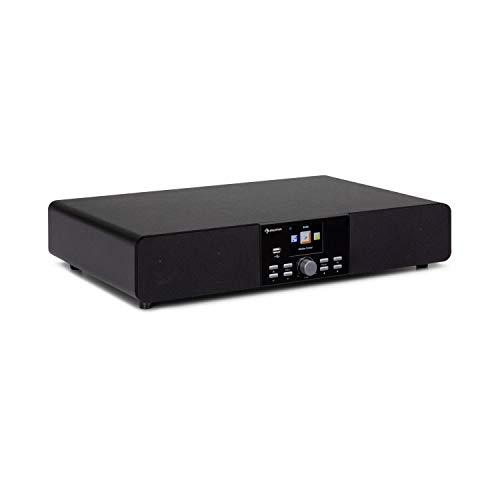 auna Stealth Base - Connect Soundbase, 2 x 15 W + 30 W RMS-Leistung, Internet/DAB+/FM Radio, Bluetooth-Funktion, AirMusic Control App, 2,8' LC-Display, USB-Port, Line-Eingang, schwarz