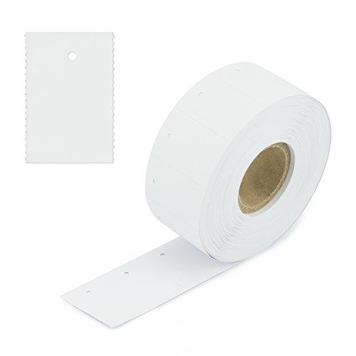 1000 kartonnen etiketten met gat 30x45 mm - blanco/wit - eindeloze etiketten op rol, prijskaartjes, etiketten hangers - ophangetiketten [E-3045]