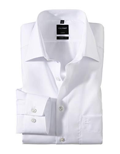 OLYMP Herren Oberhemd Langarm Luxor,Uni,modern fit,New Kent,Weiß 00,46