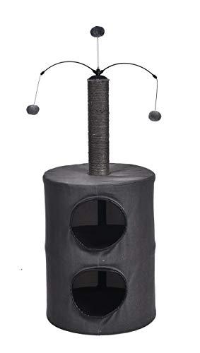 AmazonBasics - Cuccia per gatti a due livelli, con palo tiragraffi e giocattolo rotante, 45,7 x 45,7 x 99 cm, nero
