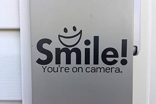 Glimlach Je bent op Camera Window Decal, Beveiliging Stickers, Camera Waarschuwing Sticker Voordeur Decal Grappige Venster Decal Vooringang Waarschuwing Decal